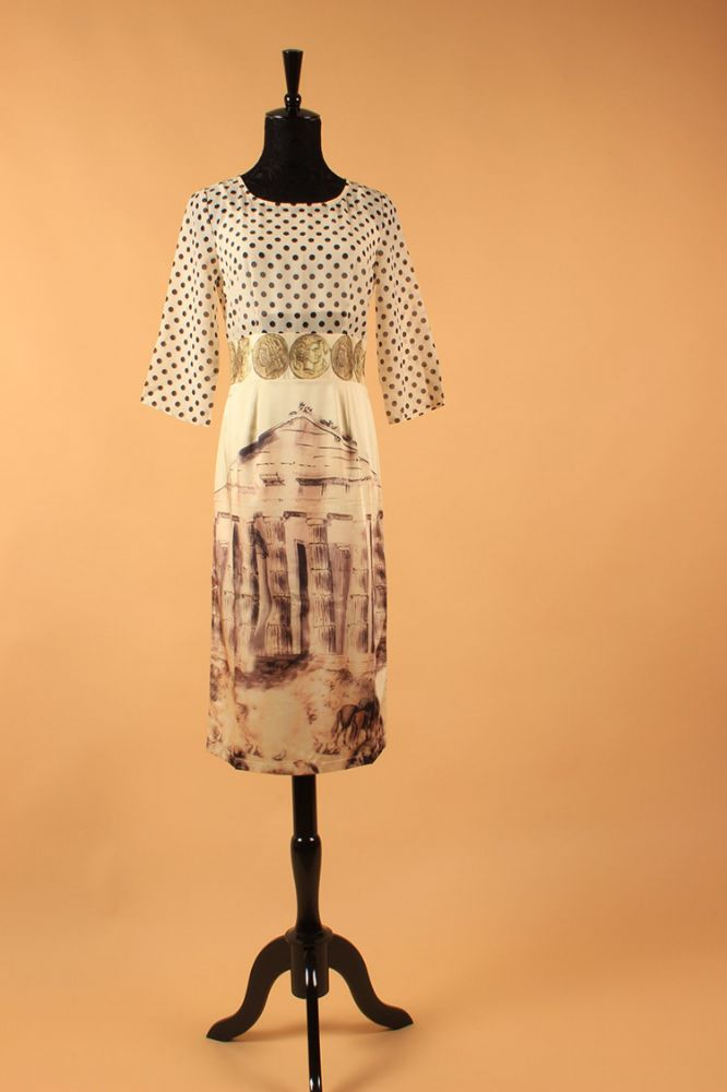 New Summer Fashion Runway Greek Scene Print  Dress
